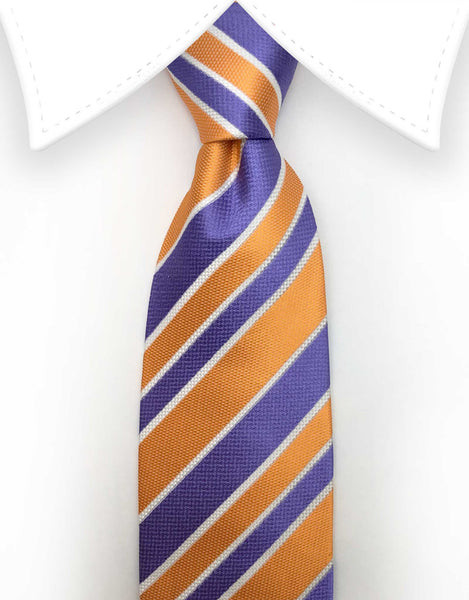 orange purple stripe tie
