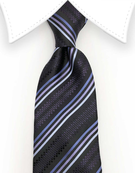 dark purple, lilac and lavender stripe tie