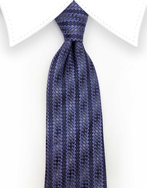Purple Patterned Striped Tie