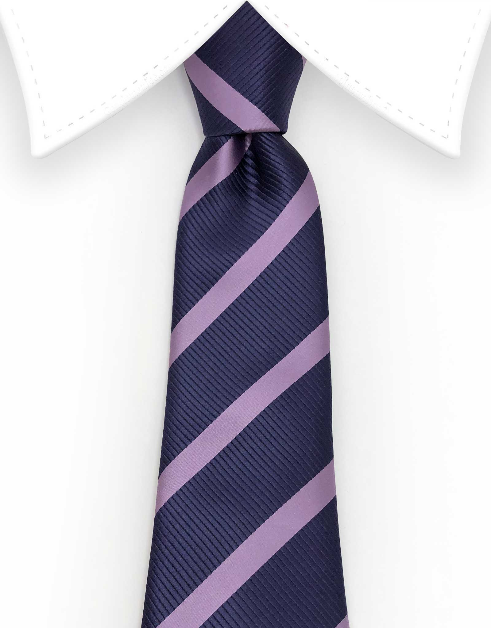 Dark purple and lilac striped tie