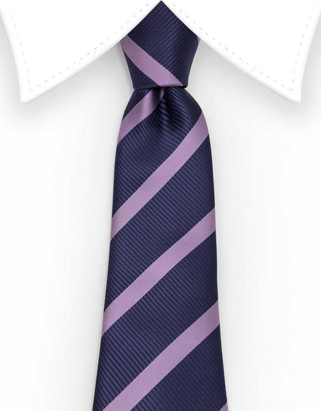 Grape purple and lilac striped extra long tie