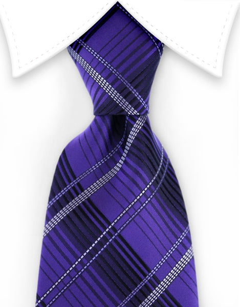 purple black plaid tie
