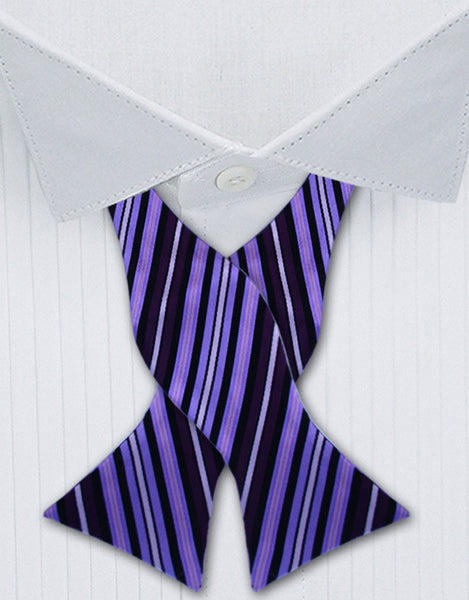 purple black silk bow tie
