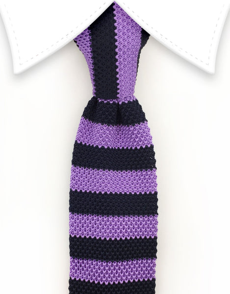 purple black stripe knitted necktie