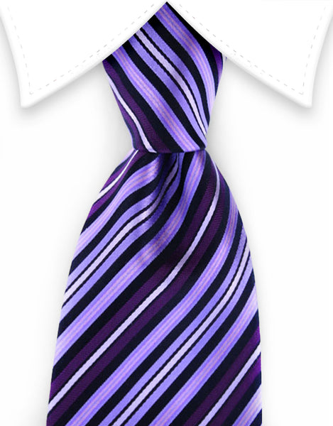 Purple, lilac, black silk tie
