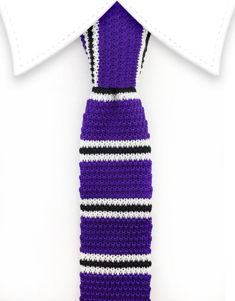 purple, black and white striped knitted necktie