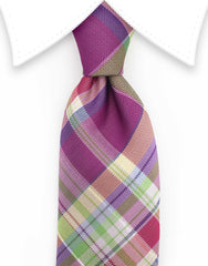 Purple Green Plaid Tie