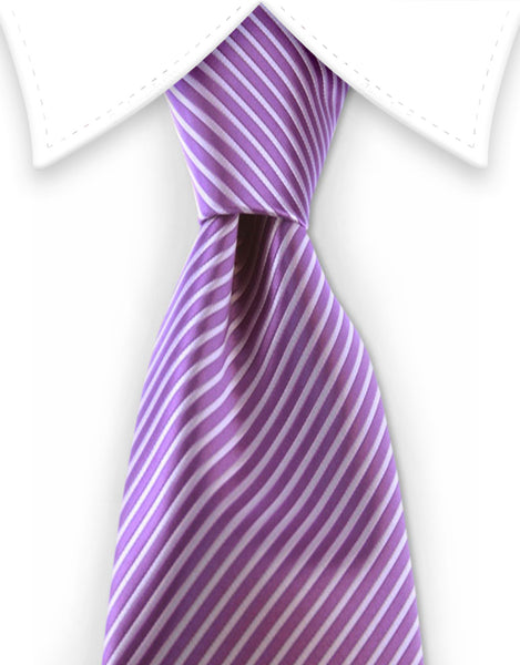 lilac purple pinstriped tie