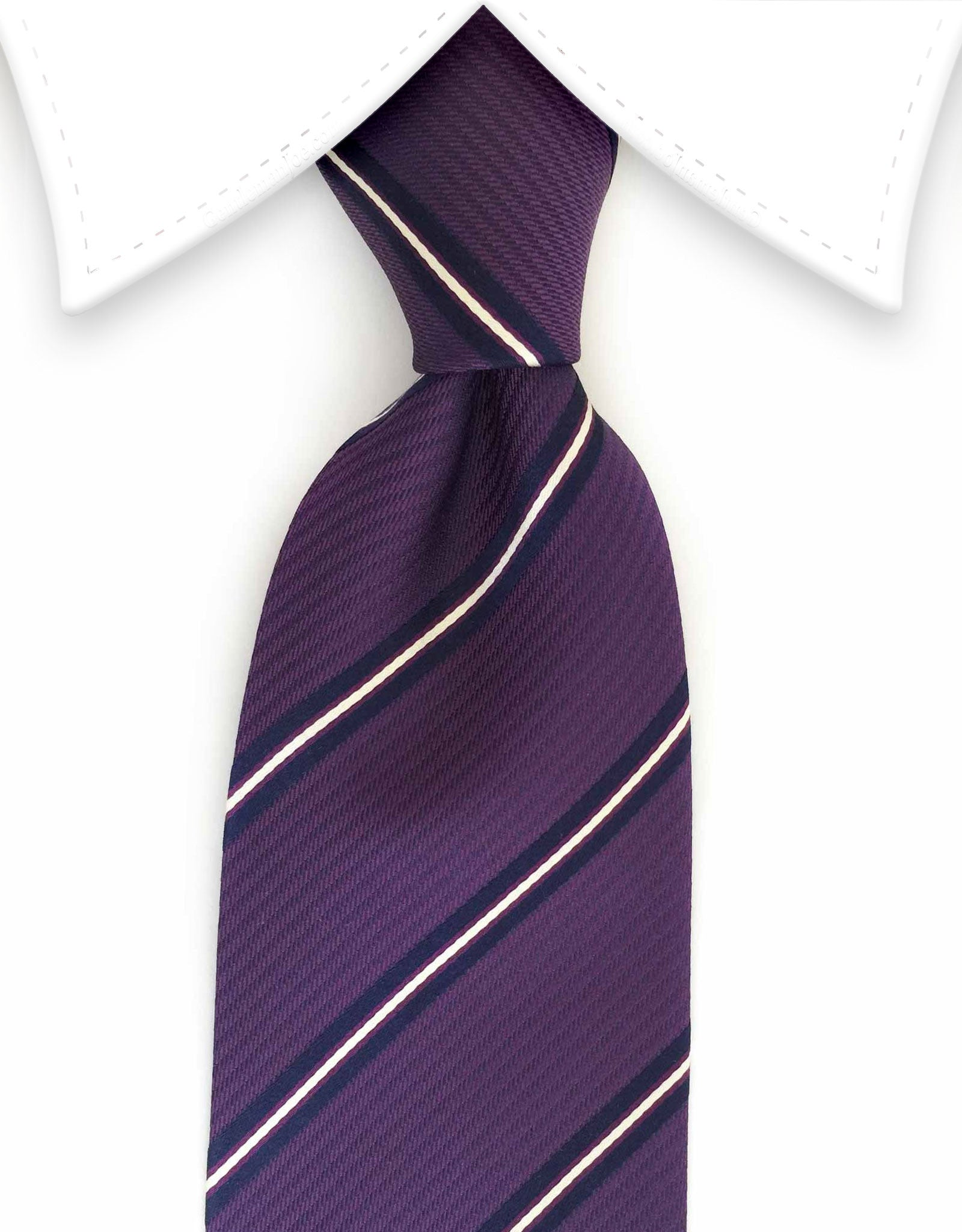 purple, navy blue, white striped tie
