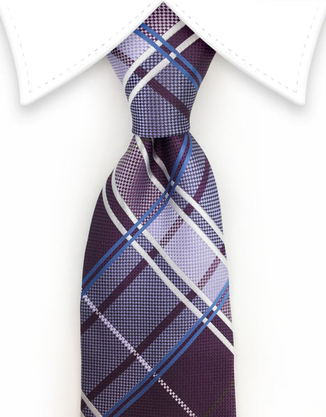 purple & blue plaid tie