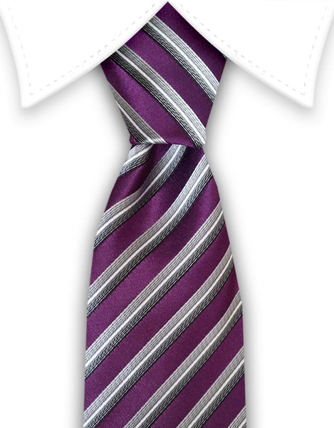 purple silver charcoal striped ties