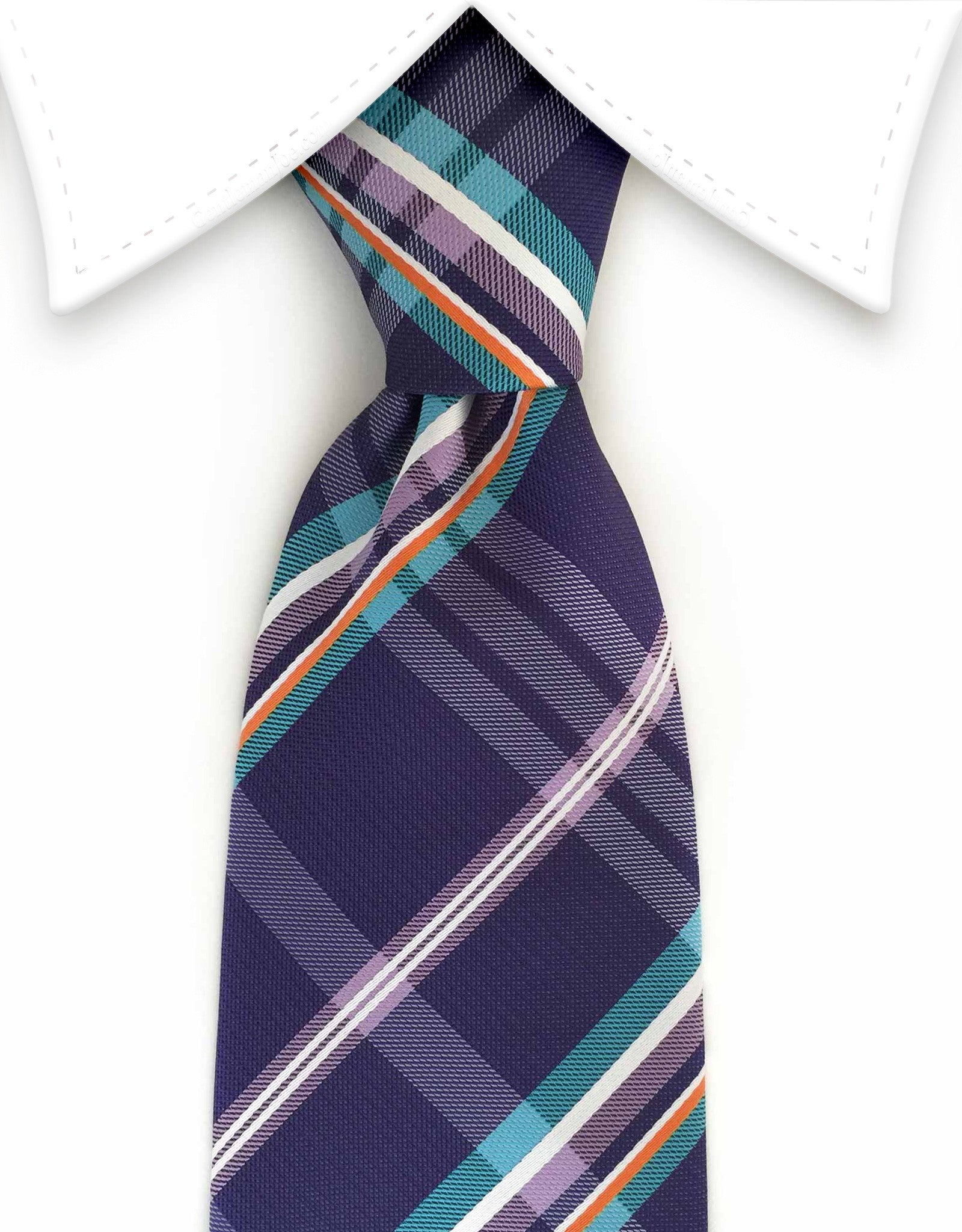 purple, teal, orange plaid tie