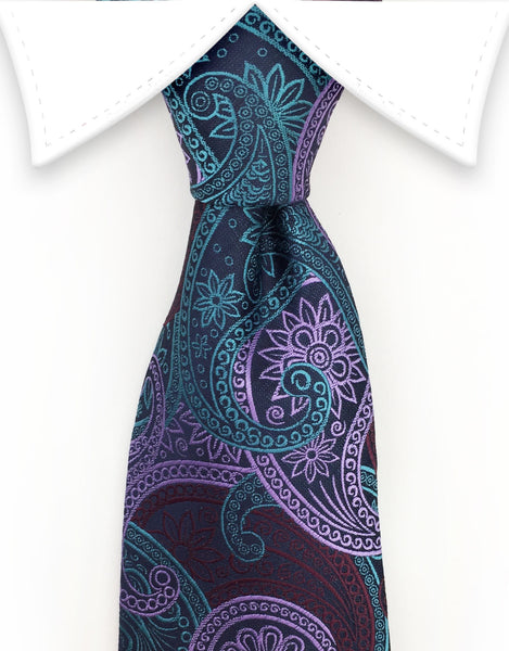 purple teal paisley tie