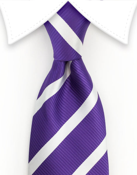 purple and white stripe ties