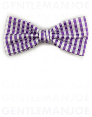 Lilac & White Gingham Bow Tie