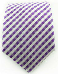 purple and white extra long tie