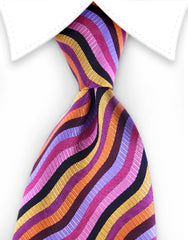 pink orange striped tie