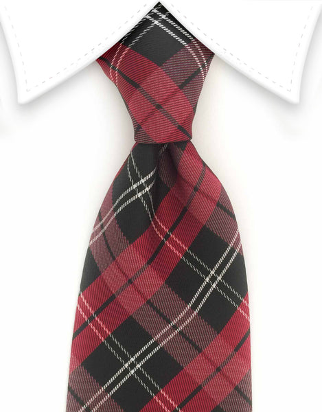 raspberry red and black plaid tie