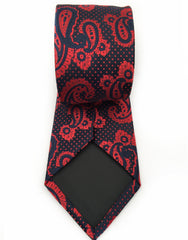 dark blue and raspberry red necktie