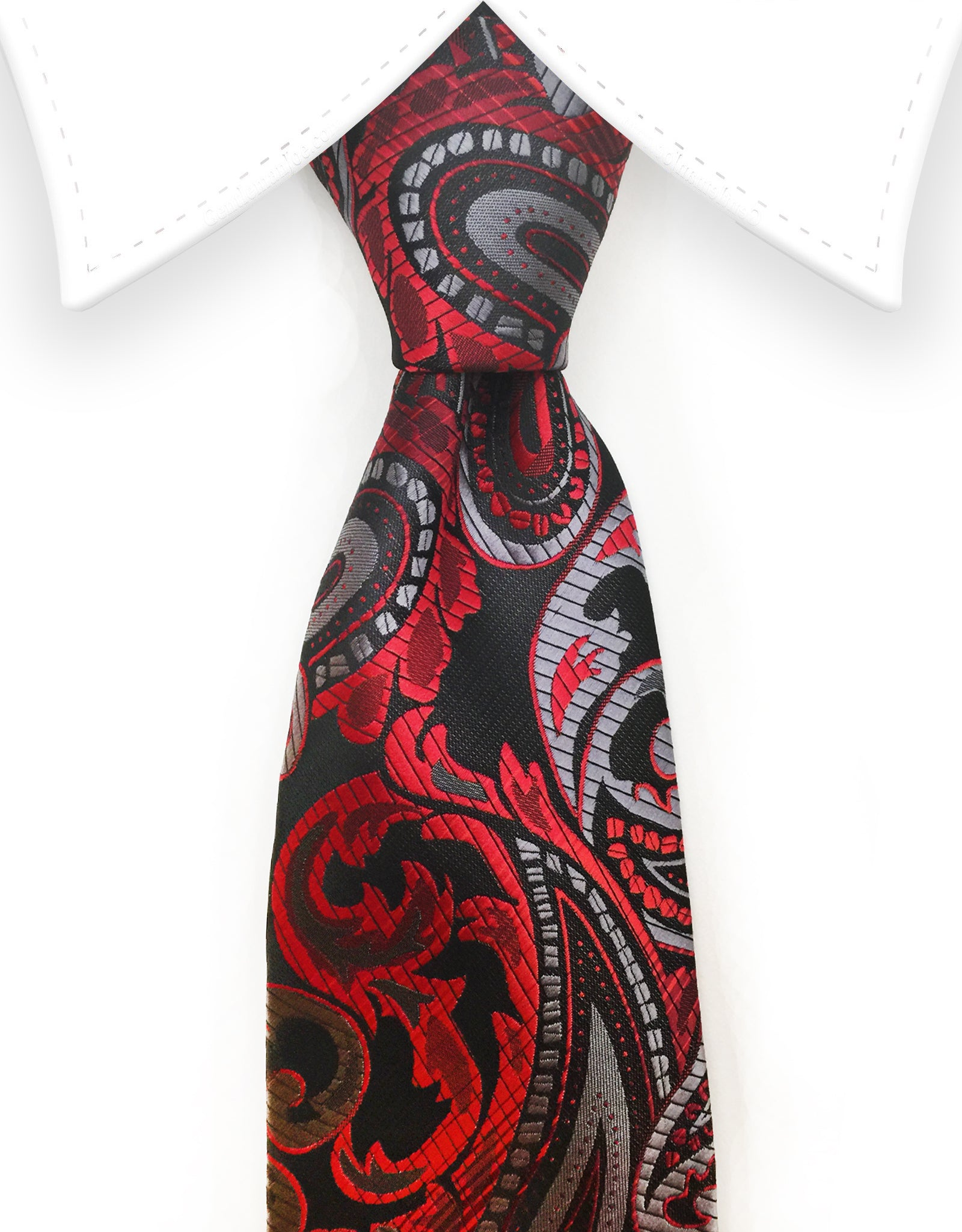 red black silver paisley tie