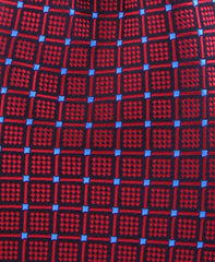 Red Geometric Necktie with miniature blue squares