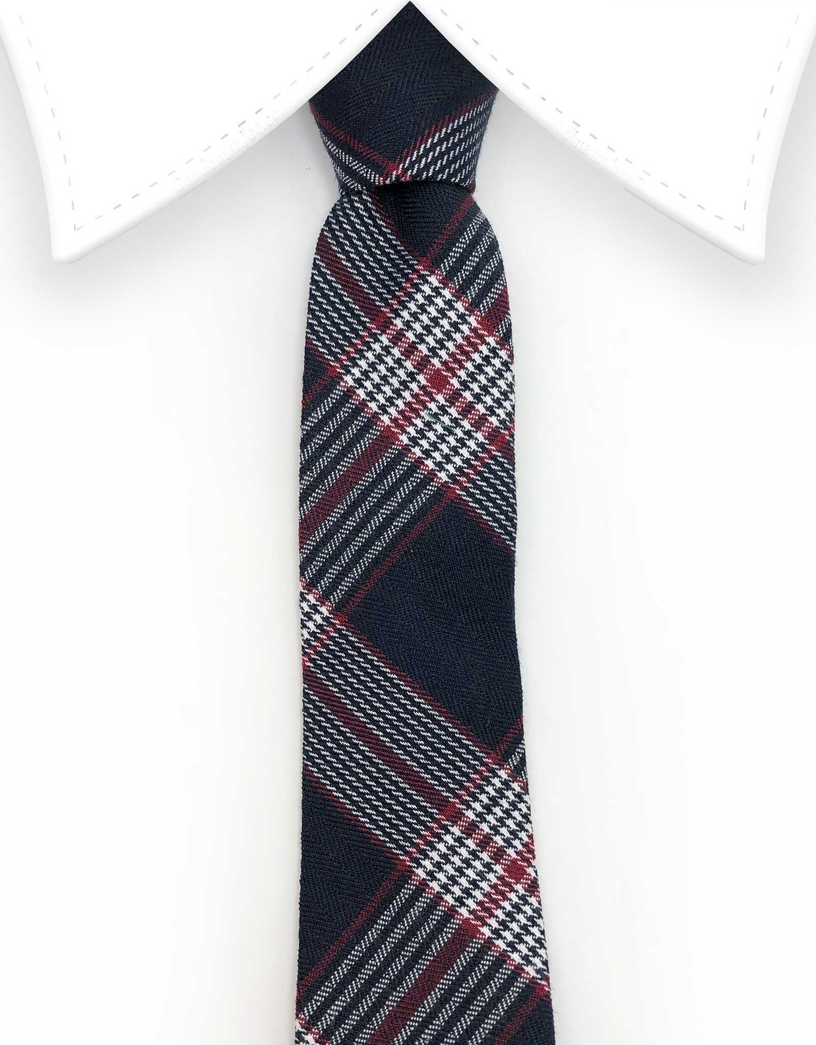 Navy blue and red tartan necktie