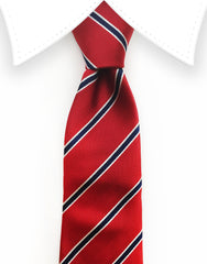 red blue and white tie