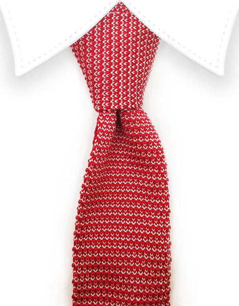 red white knit tie