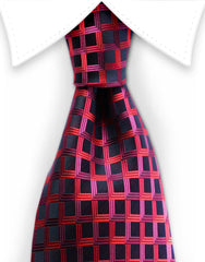 Black tie with red pink grid