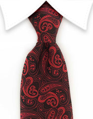 Red and black silk paisley tie