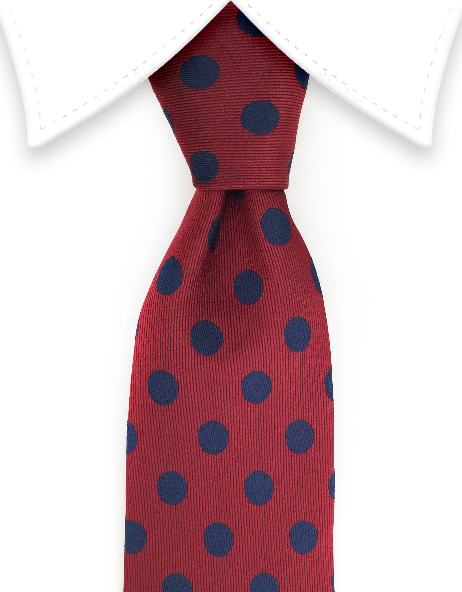 burgundy slim tie with navy blue polka dots