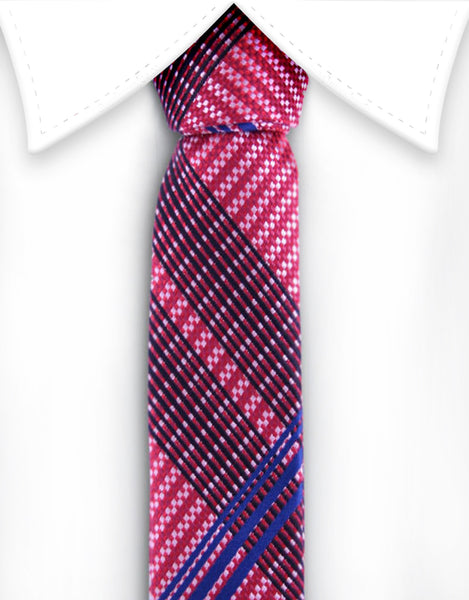 Red white and blue skinny necktie