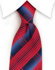 Red and blue plaid tie