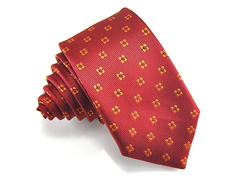 red skinny tie with motif