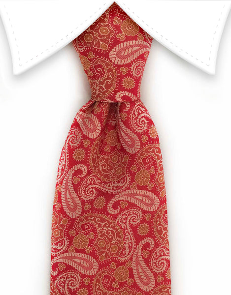 Persimmon gold paisley tie