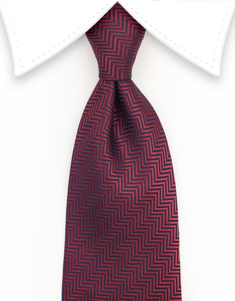 Burgundy Red Herringbone Mens Tie
