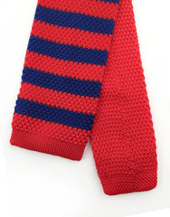 Tip of Red Blue Knit Tie