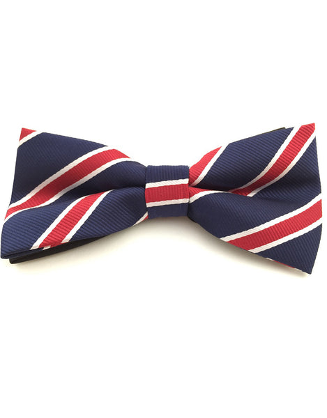 Navy blue, red and white bow tie