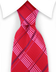 red & pink plaid tie