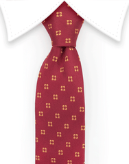 Red narrow tie with orange flower motif