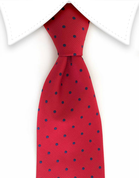Red tie with navy blue polka dots