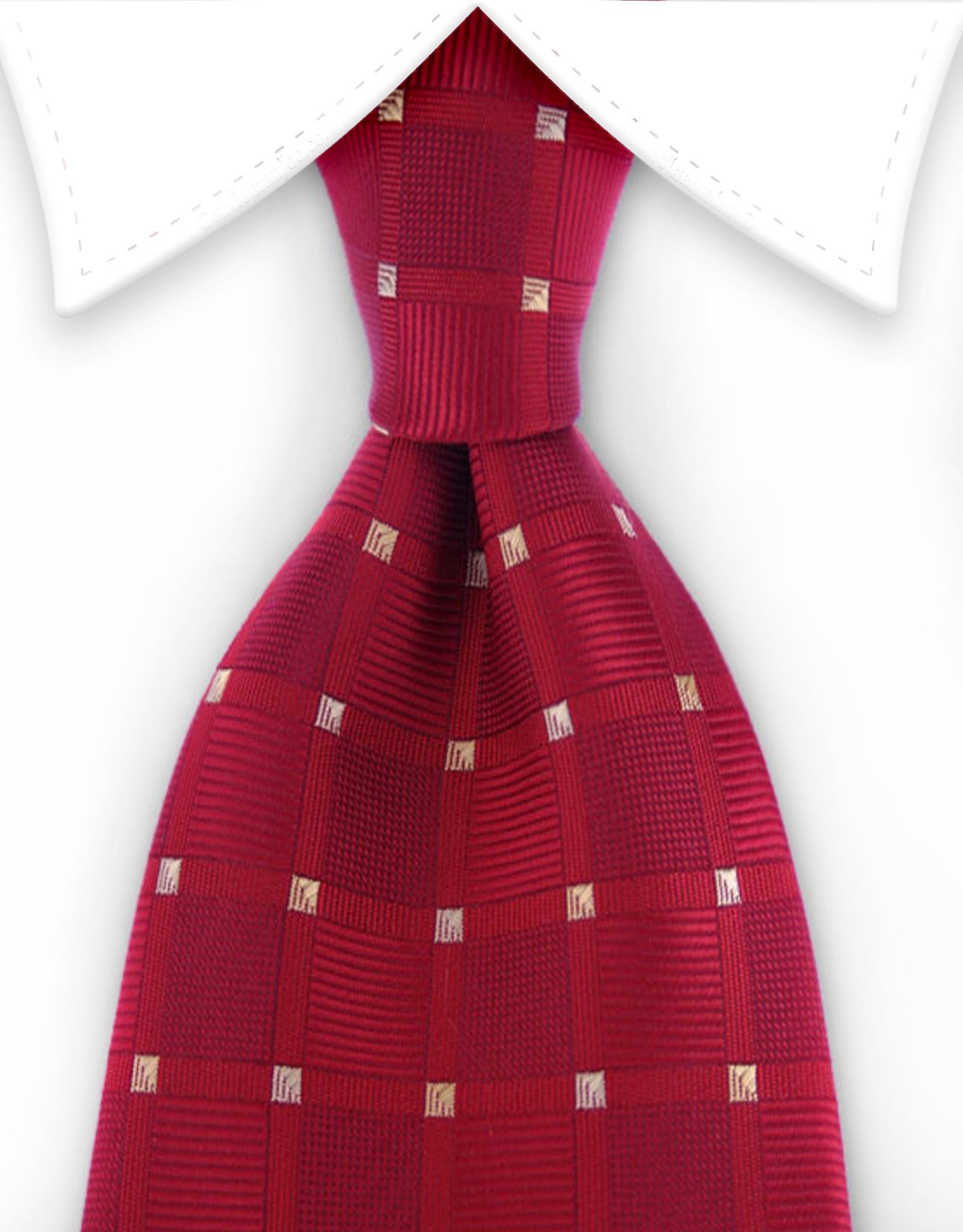 Extra Long Red Tie with Gold Squares