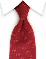 red tie with orange circles