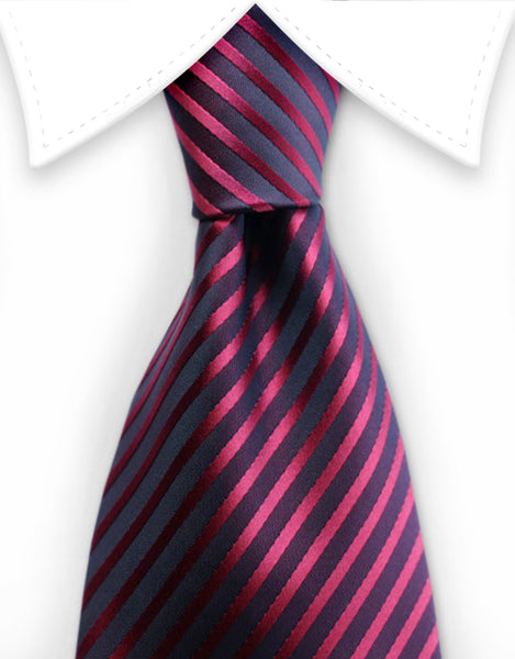 red tie with thin black stripes
