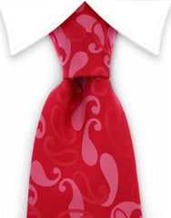 Mens red paisley necktie