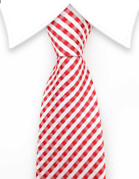 Red and white checked tie