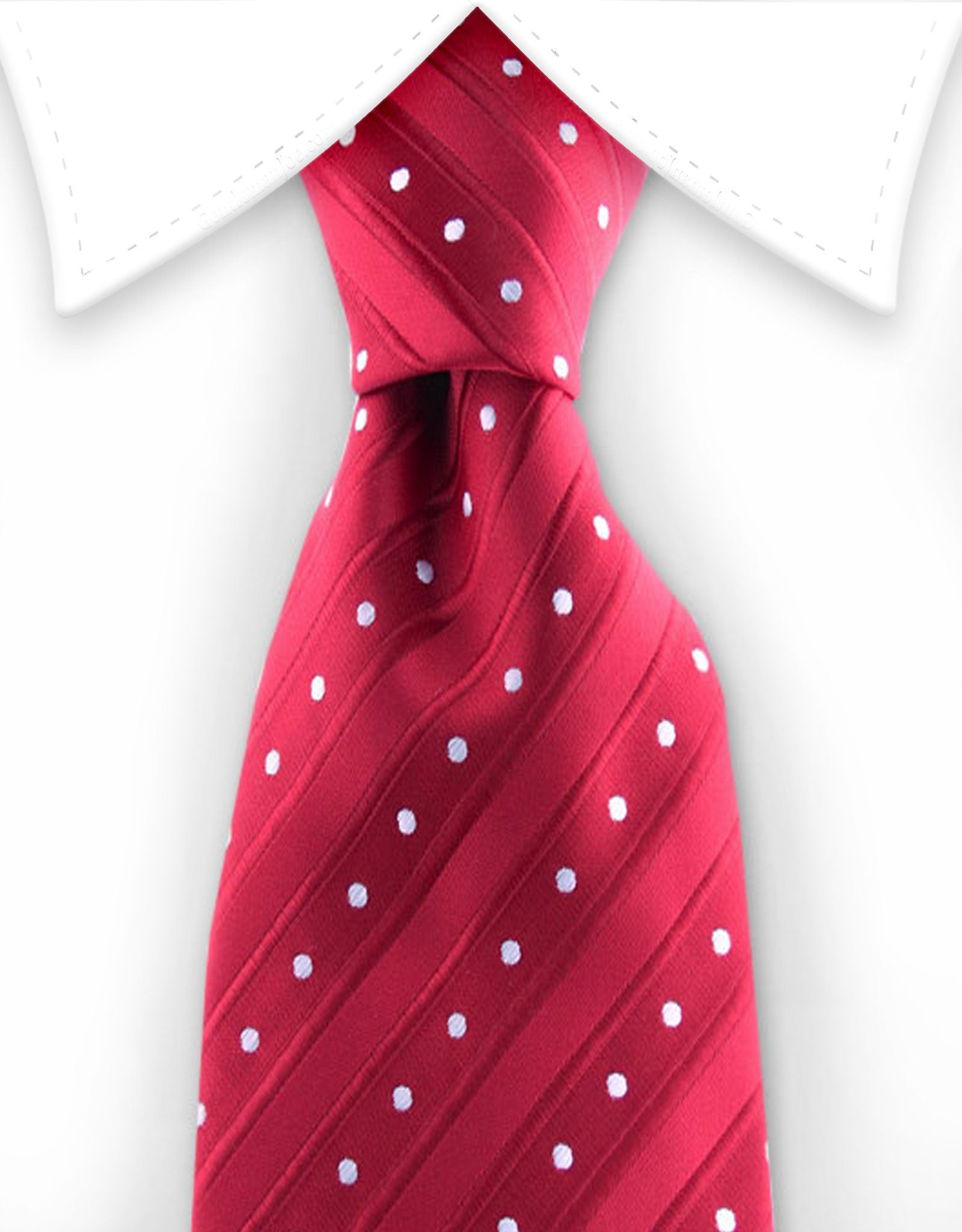 Red tie with white polka dots and stripes