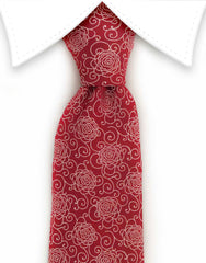 red tie with floral motif