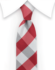 Red and White Skinny Tie