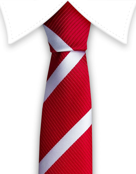 Red White Skinny Tie